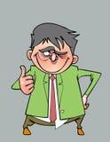Hombre sonriente de la historieta en un traje con un lazo que muestra el pulgar para arriba Foto de archivo libre de regalías