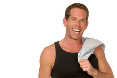 Hombre sonriente en camisa oscura del músculo Imagen de archivo libre de regalías