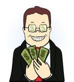 Hombre sonriente en el traje y los vidrios, llevando a cabo dólares Imagen de archivo libre de regalías