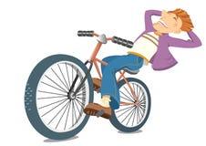 Hombre sonriente en la bici. Ciclista del vector aislado en w Imagen de archivo