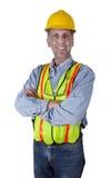 Hombre sonriente feliz del trabajador de construcción de la unión Fotografía de archivo