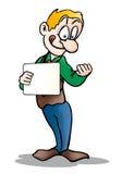 Hombre sorprendente que lleva a cabo a la tarjeta en blanco Foto de archivo libre de regalías