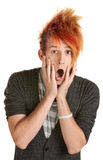 Hombre sorprendido con el pelo de punta Fotos de archivo libres de regalías