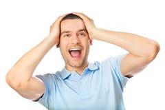 Hombre sorprendido, en blanco Imagen de archivo libre de regalías
