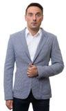 Hombre sorprendido en chaqueta de moda Imagenes de archivo