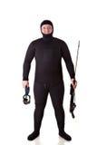 Hombre subacuático del cazador Imagen de archivo