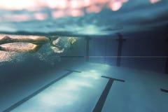 Hombre subacuático, natación del hombre en piscina imagen de archivo libre de regalías