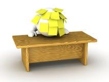Hombre subrayado abrumado 3D con la cabeza en el escritorio y notas pegajosas Foto de archivo libre de regalías