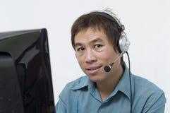 Hombre tailandés con el receptor de cabeza Imágenes de archivo libres de regalías