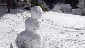 Hombre torcido de la nieve que se inclina al lado como el sol brilla abajo en parque nevoso almacen de video