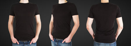Hombre tres en camiseta negra Foto de archivo libre de regalías