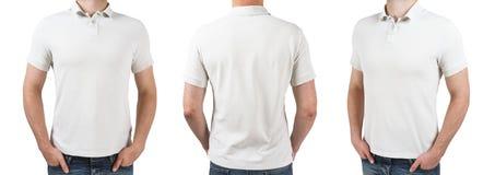 Hombre tres en la camiseta blanca del polo Fotografía de archivo libre de regalías