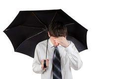 Hombre triste con el paraguas Foto de archivo libre de regalías