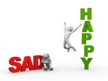 hombre triste 3d y persona feliz Imagen de archivo