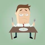 Hombre triste de la historieta en dieta Imagenes de archivo