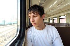 Hombre triste en el tren Imágenes de archivo libres de regalías