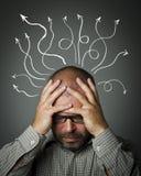 Hombre triste. Hombre en pensamientos. Imagen de archivo libre de regalías
