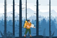 Hombre turístico con el mapa y mochila que realiza actividad turística al aire libre Paisaje de la montaña de los árboles foresta ilustración del vector