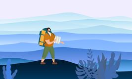 Hombre turístico con el mapa y mochila que realiza actividad turística al aire libre Paisaje m?nimo Viaje de la aventura, caminan stock de ilustración