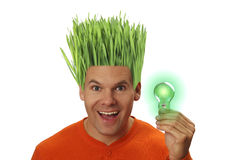 Hombre verde con idea brillante Fotografía de archivo