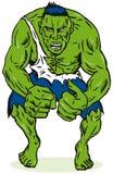 Hombre verde con los músculos Imágenes de archivo libres de regalías