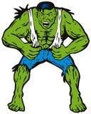 Hombre verde que rasga de la camisa ilustración del vector
