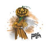 Hombre vestido como Drácula con la cabeza de la calabaza de Halloween ilustración del vector