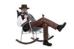 Hombre vestido como retro con un Mauser fotografía de archivo libre de regalías