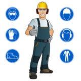 Hombre vestido en ropa de trabajo stock de ilustración
