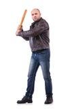 Hombre violento con el bate de béisbol Imagen de archivo libre de regalías