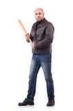 Hombre violento con el bate de béisbol Imágenes de archivo libres de regalías