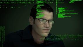 Hombre virtual y códigos de programa almacen de metraje de vídeo