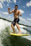 Hombre wakesurfing Imágenes de archivo libres de regalías