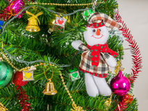Hombre y accesorios de la nieve adornados con el árbol de navidad foto de archivo