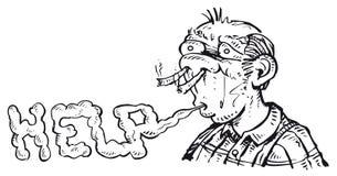 Hombre y apego que fuma Fotos de archivo libres de regalías