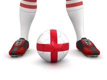 Hombre y balón de fútbol con la bandera inglesa (trayectoria de recortes incluida) Foto de archivo