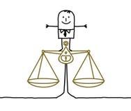 Hombre y balance, justicia Foto de archivo