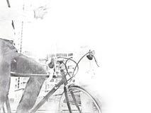 Hombre y bicicleta de negocios que caminan en acuarela de la calle libre illustration