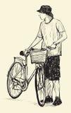 Hombre y bicicleta, dibujo de la carta blanca, vector de Sketcha Imagen de archivo libre de regalías