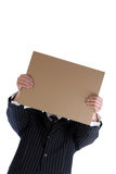 Hombre y cartulina imagen de archivo libre de regalías