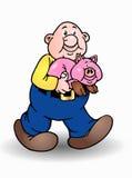 Hombre y cerdo calvos aislados Imagen de archivo libre de regalías