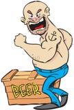 Hombre y cerveza enojados Foto de archivo libre de regalías