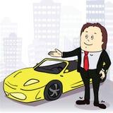 Hombre y coche cómodo en ciudad grande Vector Imágenes de archivo libres de regalías