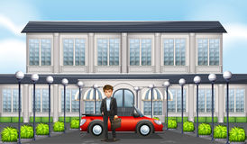 Hombre y coche privado delante del edificio ilustración del vector