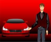 Hombre y coche que se divierte Imagen de archivo libre de regalías