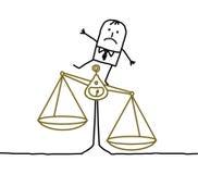 Hombre y desequilibrio, injusticia Foto de archivo