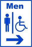 Hombre y desventaja o símbolo de la persona del sillón de ruedas Foto de archivo