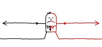Hombre y dos direcciones opuestas Imagen de archivo