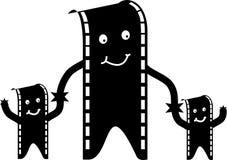 Hombre y familia de la película ilustración del vector