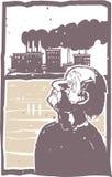 Hombre y fábrica cegadores Imagen de archivo libre de regalías